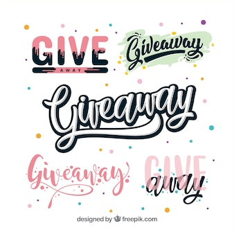 Giveaway lettering collection for contests