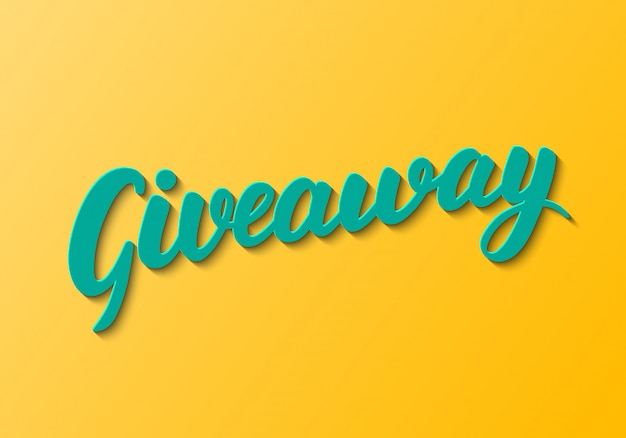 Giveaway lettering on orange background.