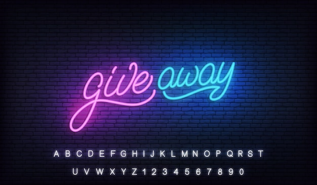 Giveaway neon sign. glowing lettering billboard design