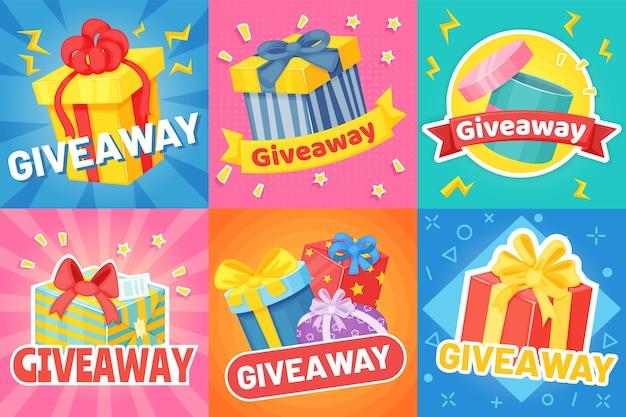 선물 상자, 소셜 미디어 프로모션 배너가 있는 경품 포스터. 만화는 리본, 경품 발표 배너 벡터 세트를 제공합니다. 경쟁 또는 콘테스트에서 색종이 조각으로 우승자 보상