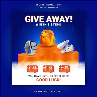 Giveaway for smart watch bag and shoes win it three steps instagram banner social media post