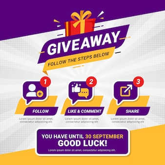 Giveaway steps for social media contest design concept