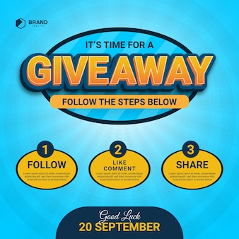 Giveaway steps for social media post with 3 steps to win