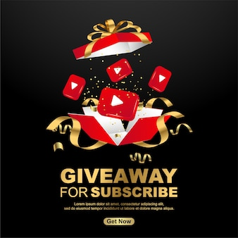 Giveaway for subscribe with realistic gift box on black background