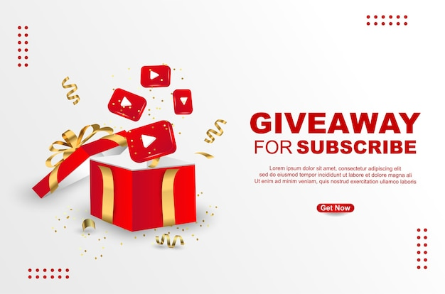 Giveaway for subscribe with realistic gift box