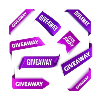 Giveaway tags or labels for social media post. vector giveaway contest ribbons.