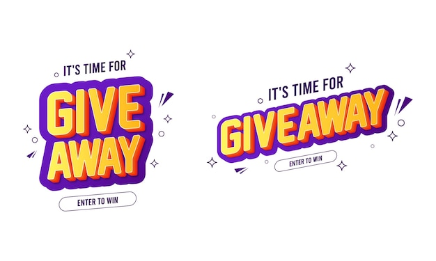 Giveaway text banner collections