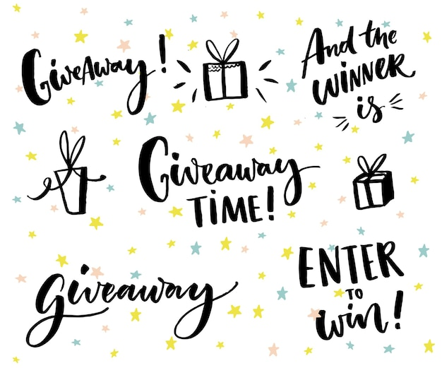 Giveaway text and design elements set of lettering and hand drawn gifts social media contest