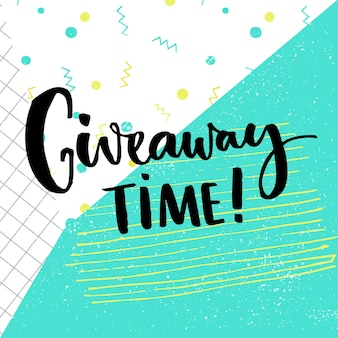 Giveaway time text for social media contest brush calligraphy at abstract background squared paper