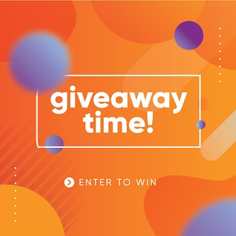 Giveaway vibrant banner design template for social media with orange background