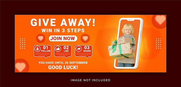 Giveaway win it three steps facebook cover social media post template