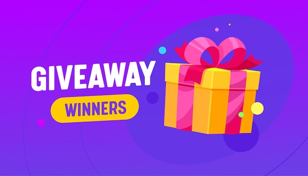 Giveaway winner banner with gift box, promotion contest or competition free prize, holidays shopping present wrapped with ribbon