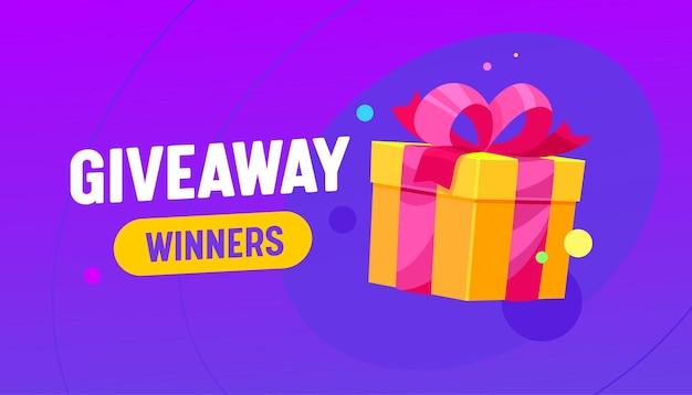 Баннер-победитель раздачи с подарочной коробкой, рекламный конкурс или бесплатный приз, праздничный подарок, завернутый в ленту