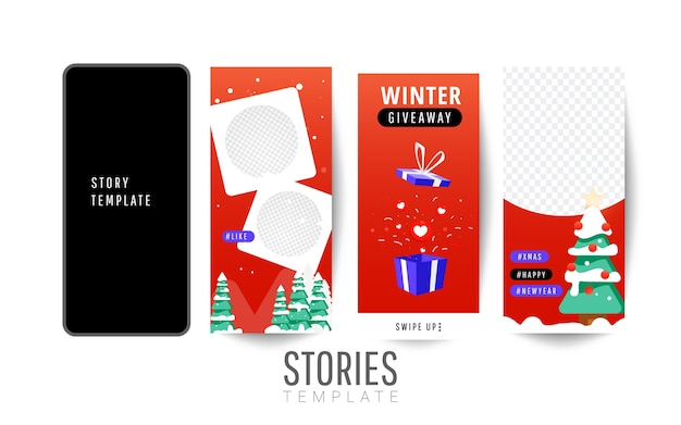 Giveaway winter banner or poster template with gift boxes
