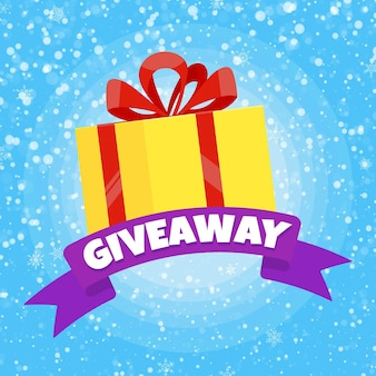 Giveaway winter gift concept for winners in social medias flat style design vector illustration
