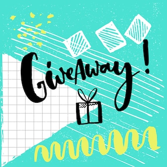 Giveaway word and hand drawn illustration of gift box for social media contests brush lettering
