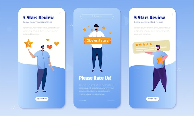 Giving 5 stars rating for customer feedback concept