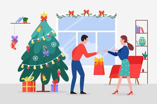 Giving christmas gifts illustration