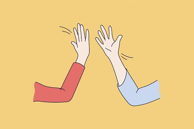 5와 인사말 개념을 제공합니다. 인간의 손은 서로에게 5명을 지원하고 무언가 벡터 일러스트레이션으로 축하할 준비가 되어 있습니다.