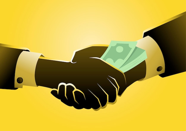 違法または非倫理的にお金を与える。贈収賄の概念。