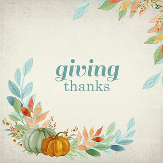 Giving thanks card in hand painted style