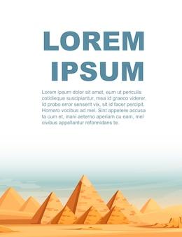 Giza egyptian pyramids desert landscape with camels flat vector illustration vertical banner design.