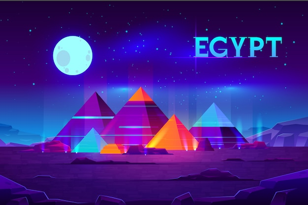 Giza plateau nigh landscape with egyptian pharaohs pyramids complex illuminated