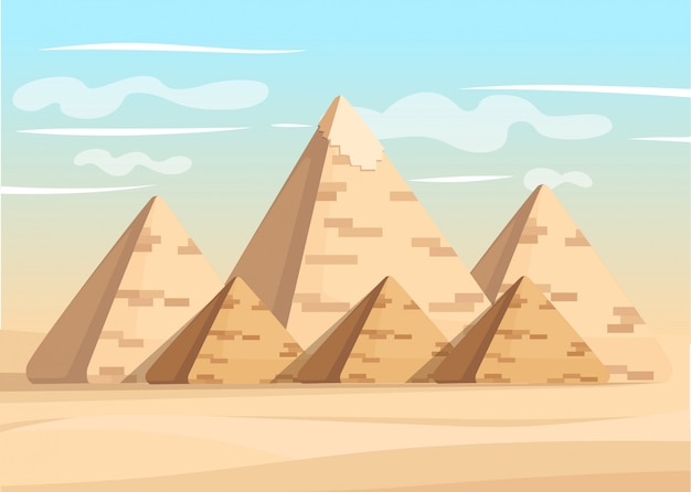 Giza pyramid complex egyptian pyramids daytime wonder of the world great pyramid of giza  illustration
