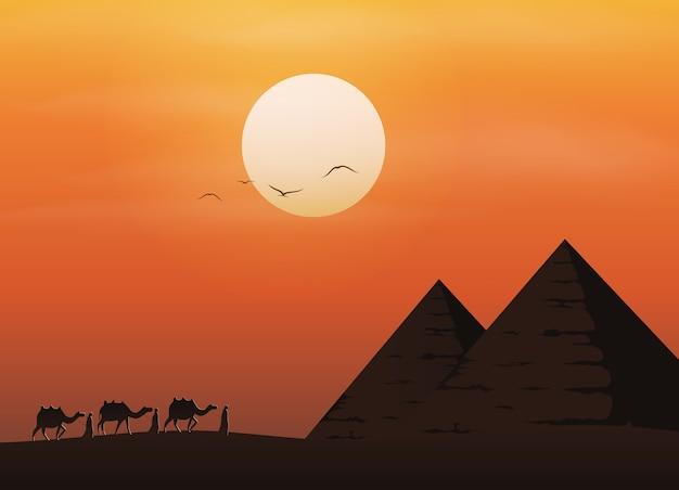 기자의 피라미드 풍경 배경
