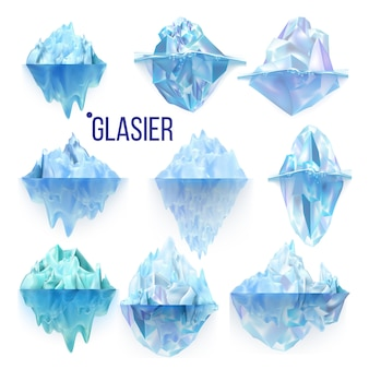 氷河の凍った岩と氷山