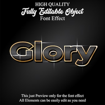 Glack with gold outline editable font effect