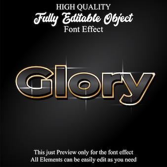 Эффект редактируемого шрифта glack с золотым контуром