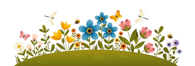 A glade with colorful blooming flowers and plant branches. summer flowers flat vector illustration with bees, dragonflies and butterflies  on white background. summer flower bed.