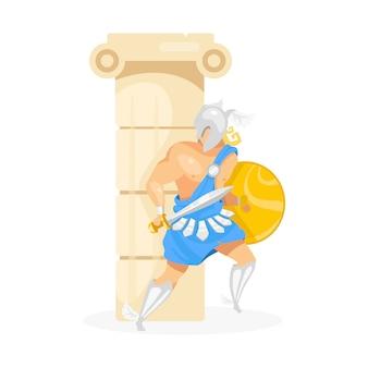 列図の背後にある剣闘士。柱の後ろに隠れているペルセウス。鎧の戦闘機。盾と剣を持つ戦士。白い背景の上の防衛ポーズの漫画のキャラクターの男