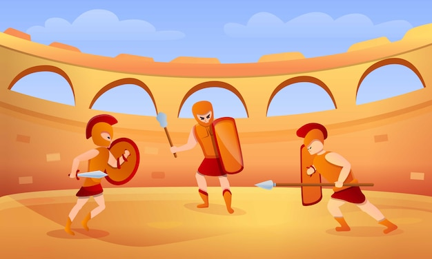 Gladiator concept illustration, cartoon style