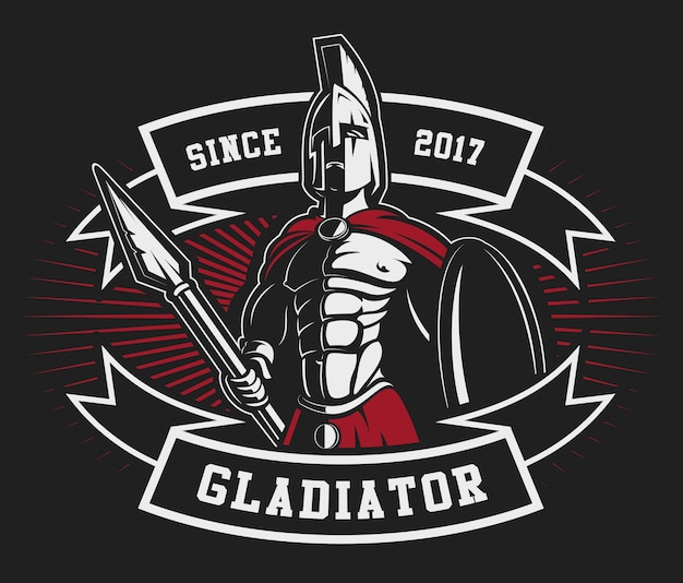 Gladiator emblem with a spear on dark background. text is on the separate layer.