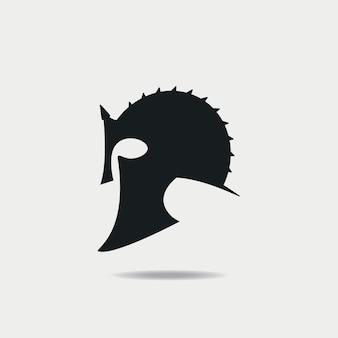 グラディエーターヘルメットアイコン。ギリシャまたはローマの質素な鎧。ベクトルイラスト。