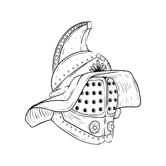 Gladiator helmet with sketch or hand drawn style in black and white