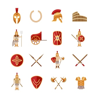 Gladiator icons set