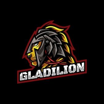 Гладиатор с головой льва талисман логотип esport