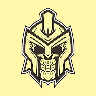 Голова черепа гладиатора с логотипом line art