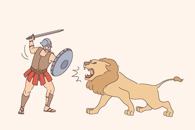 ライオンの戦いの概念を持つグラディエーター
