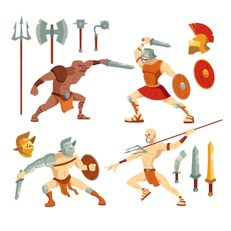 Gladiators and weapons illustration set