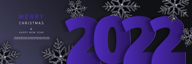 Glam christmas cadr with black shiny snowflakes. merry christmas and happy new year banner 2022.