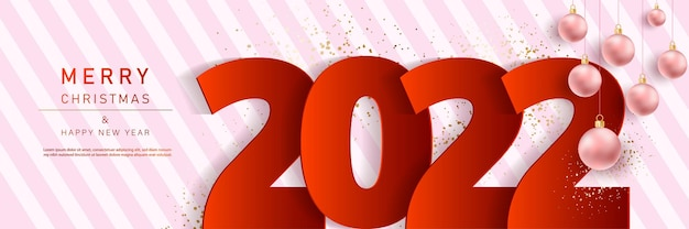 Glam christmas and happy new year banner with balloons 2022