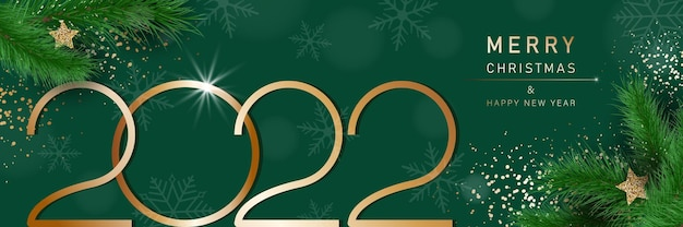Glam christmas and happy new year banner with fir branches 2022