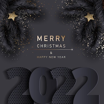 Glamorous christmas banner with fir black branches merry christmas and happy new year banner 2022