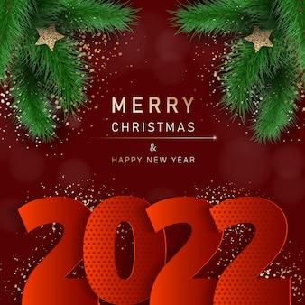 Glamorous christmas banner with fir branches merry christmas and happy new year banner 2022