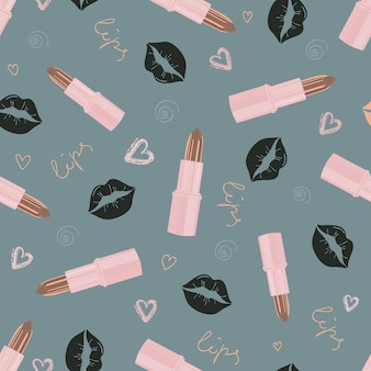 Glamorous fashion seamless pattern with lipstick and kisses. cosmetic seamless pattern in modern trendy colors. design for beauty, advertising, valentine's day. vector illustration
