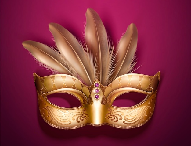 Glamorous golden mask with feathers in 3d illustration on burgundy purple background